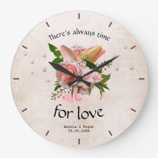 Romantic Rustic Pink Floral Wedding Clock