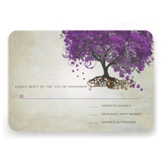 Romantic Rustic Purple Heart Leaf Tree Wedding Announcements