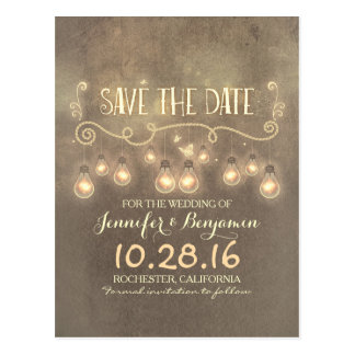 Romantic rustic vintage save the date postcards