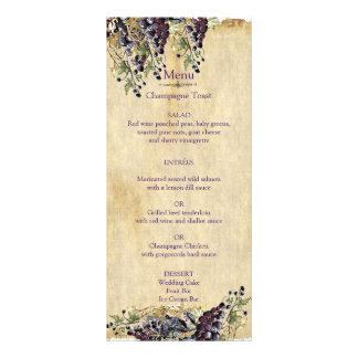 Romantic, Rustic, Winery Wedding Menu Custom Rack Card