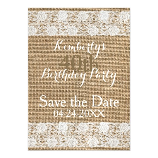 Romantic Save the Date 40th Birthday Magnetic Magnetic Invitations
