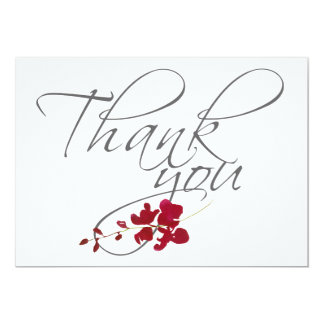 Romantic Scarlet Red Leaf Thank You Wedding Photo Card