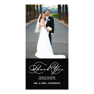 ROMANTIC SCRIPT BLACK WEDDING THANK YOU PHOTO CARD