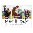 Romantic Script Photo Collage Save The Date Postcard
