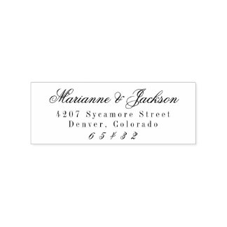 Romantic Script Wedding Return Address Stamp
