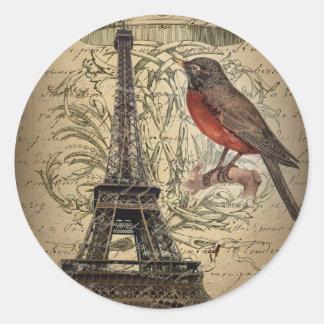 romantic scripts eiffel tower paris wedding classic round sticker