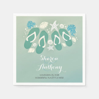Romantic Sea Glass Blue Beach flip flops Wedding Napkin