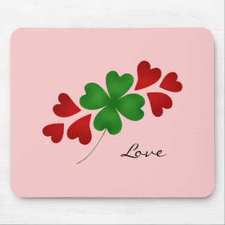 Romantic shamrock and hearts mouse pad