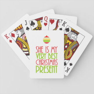 Romantic She is My Very Best Christmas Present Playing Cards