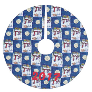 Romantic Snowman Rabbit Moon Winter Christmas Blue Brushed Polyester Tree Skirt