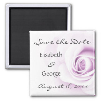 Romantic soft purple rose wedding Save the Date Square Magnet