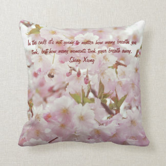 Romantic Soft Tones Cherry Blossoms and Bee Throw Pillow