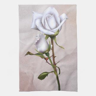 Romantic Soft White Roses Elegant Floral Glam Kitchen Towel