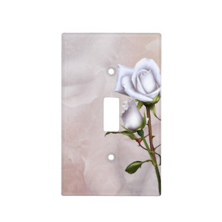 Romantic Soft White Roses Elegant Floral Peach Light Switch Cover