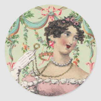 Romantic Soiree for Jane Austen Classic Round Sticker