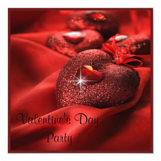 Romantic Sparkle Hearts Valentine's Day Party Card
