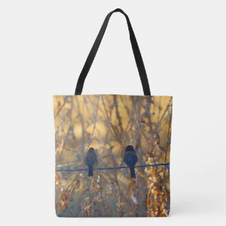 Romantic sparrow bird couple, All Over Photo Tote Bag