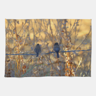 Romantic sparrow bird couple on a wire, Photo Hand Towel