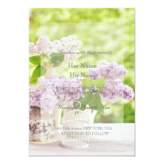 Romantic Spring Flower Floral White Lilac Wedding Card