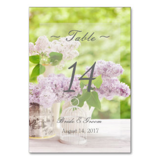 Romantic Spring Flower Lilac Wedding Table Number