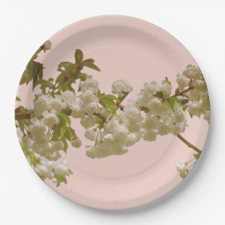 Romantic Spring Summer Cherry Blossom Wedding 9 Inch Paper Plate