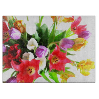 Romantic Spring Tulip Flowers Cutting Board