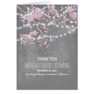 Romantic string lights branches wedding thank you card