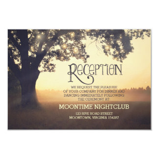 "romantic string lights tree wedding reception card 3.5"" x 5"" invitation card"