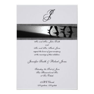 Romantic Stroll Monogram Grey Wedding Invitation