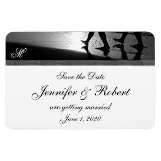 Romantic Stroll Monogram in Silver Save the Date Rectangular Photo Magnet