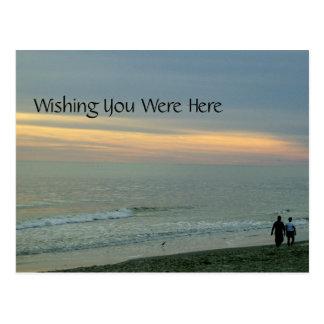 Romantic Stroll on Beach Postcard