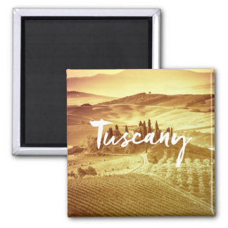 Romantic sunny tuscany Italy brush typography Magnet