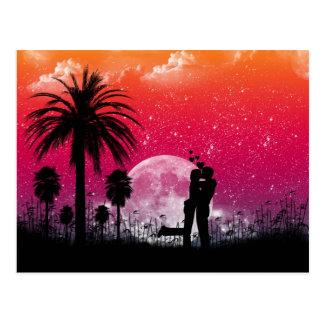Romantic Sunset in the Palms Postcard