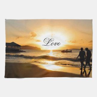 Romantic sunset kitchen towel
