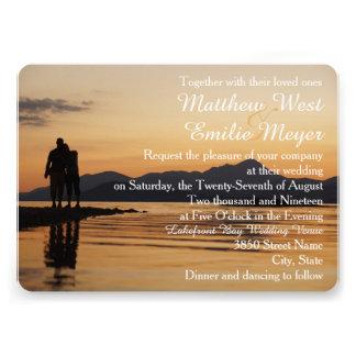 Romantic Sunset Land and Sea Wedding Invitation