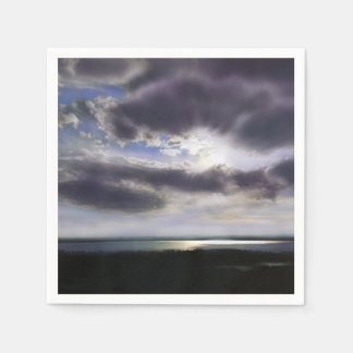 Romantic Sunset over the Lake Disposable Napkin