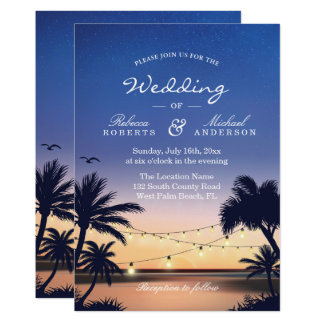 Romantic Sunset Palm Beach String Lights Wedding Card