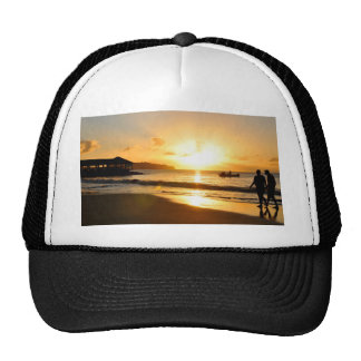 Romantic sunset trucker hat