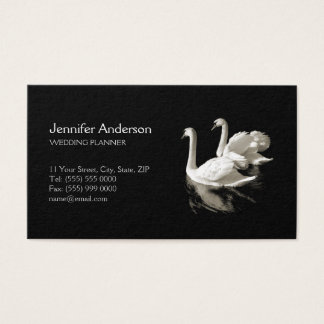 Romantic Swans Black White business card