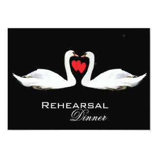 Romantic Swans Rehearsal Dinner Card