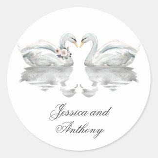 Romantic Swans Wedding Bride and Groom Classic Round Sticker