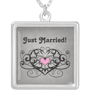 Romantic swirls and hearts just married square pendant necklace