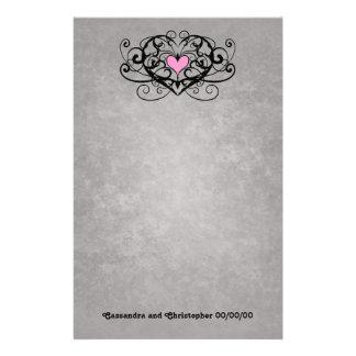 Romantic swirls and hearts wedding custom stationery
