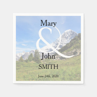 Romantic Switzerland mountain country wedding Paper Napkin