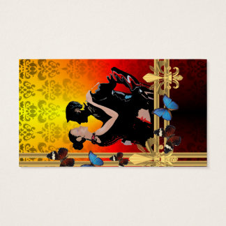 Romantic tango dancers on damask business card