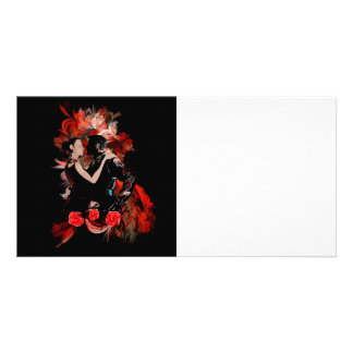 Romantic tango dancers on red fractal photo cards