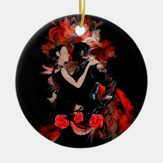 Romantic tango dancers on red fractal round ceramic ornament