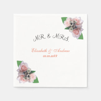 Romantic three pink roses floral chic Napkin