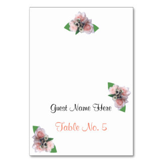 Romantic three pink roses wedding place escort card