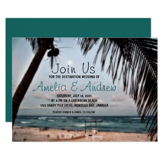 Romantic Tropical Beach Photo Destination Wedding Card